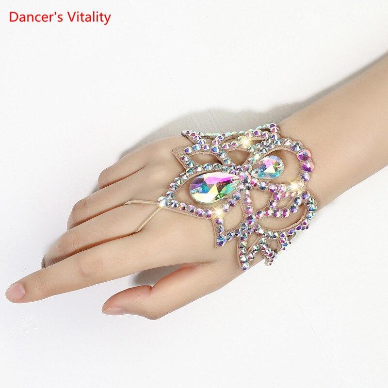 Belly Dance Rhinestone Bracelet  Ballroom Dance Magic Crystal Hand Cuff Dance Competition Strass Bracelet Rhinestone Festival Wristband