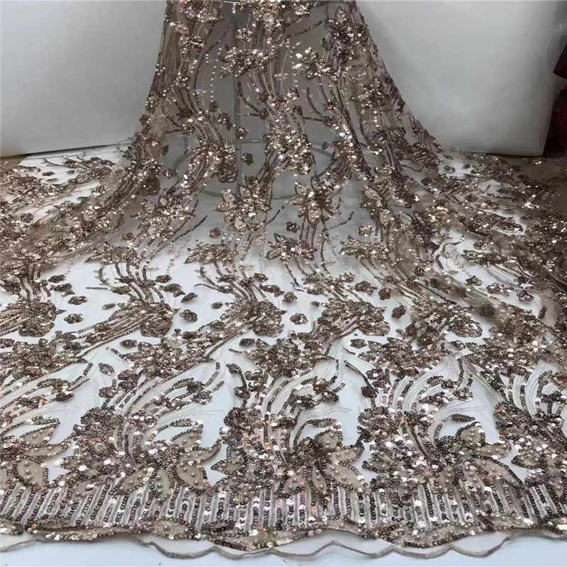 Nigeria Net Lace Fabric With Sequins bead High quality Embroidery Design African Tulle Mesh Lace Fabric For Wedding fj1-1162
