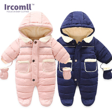 Ircomll Winter Infant Baby Girl Boy Romper Autumn Jumpsuit Hooded Inside Fleece Toddle Overalls Children Outerwear