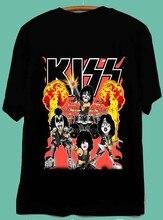 Kiss vintage repelt poster 90 preto t camisa superior t-shirt plus size harajuku