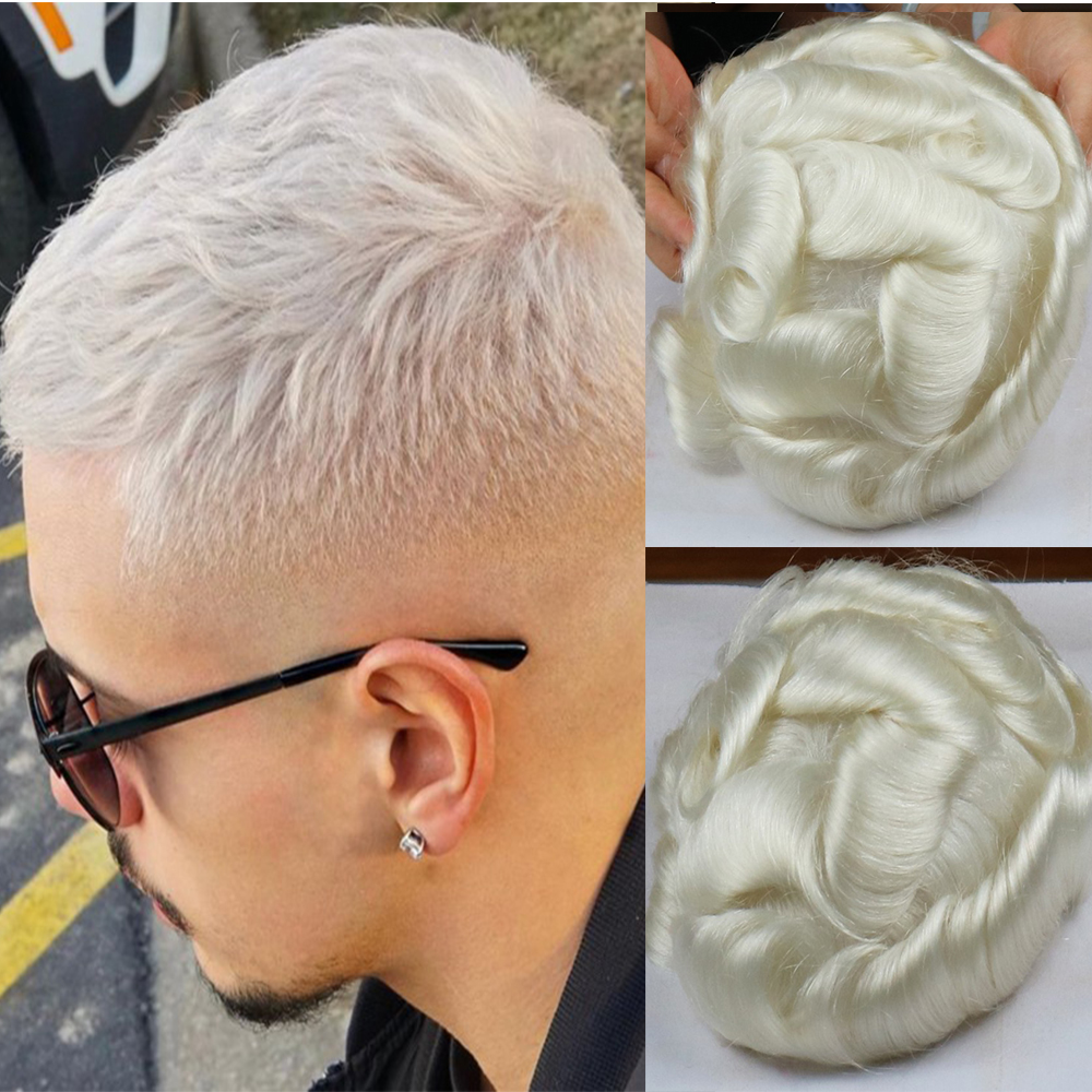 V-looped Men's Toupee Natural Hairline White Color #60R Men Hair System Super Thin Skin Toupee Hair Replacement System