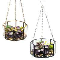 Octogonal geométrico pendurado flor de vidro vaso planta terrário recipiente pote casa