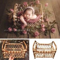 Fotografie Baby Requisiten Vintage Woven Rattan Korb Neugeborenen Fotografie Requisiten Korb Baby Posiert Sofa Bett Accessoire Bebe Foto