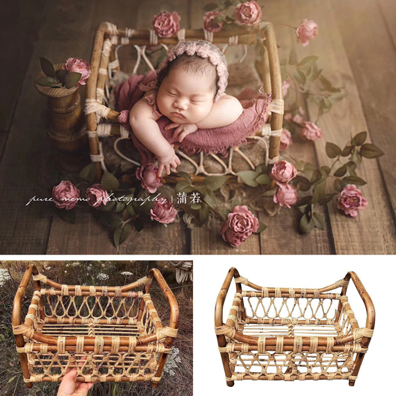 Newborn Photography Props Vintage Woven Rattan Basket Studio Baby Props For Photography Shoot Posing Sofa Accessoire Photo Bebe