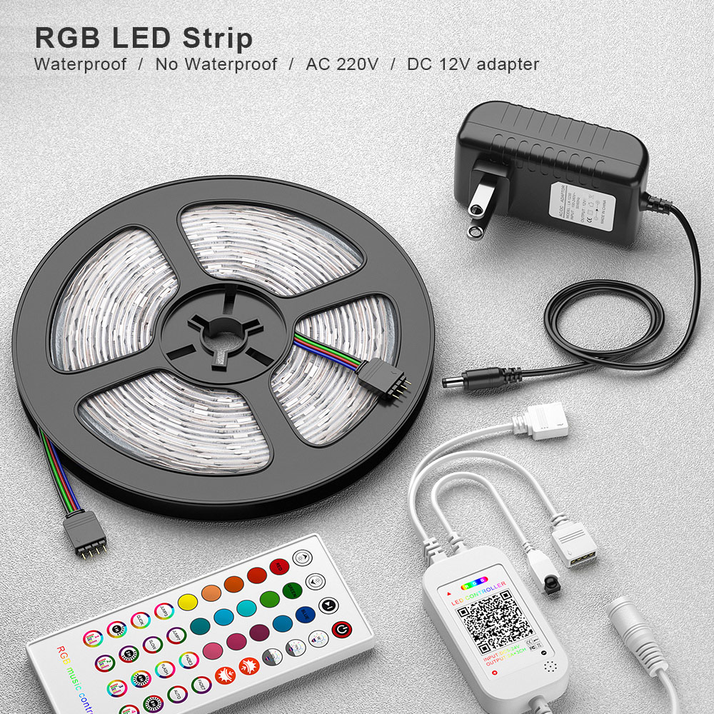 5M 10M LED Strip Light DC 12V SMD 5050 RGB LED Flexible Light Strip Ribbon Tape Bluetooth Control +Adapter For Home Party