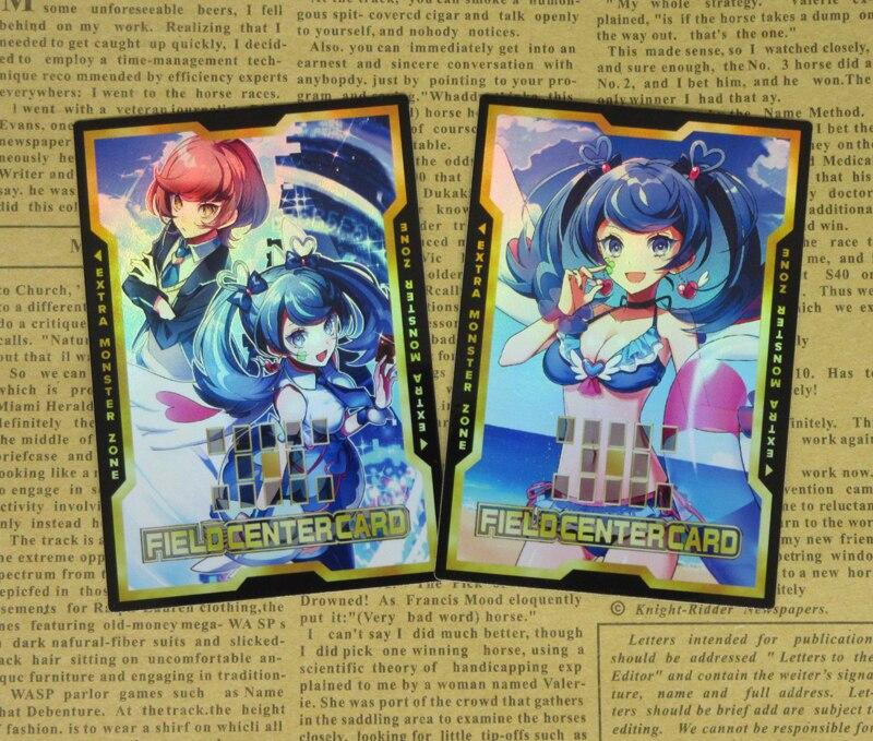 2pcs/set Yu-Gi-Oh! VRAINS Blue Angel Field Center Cards Skye Zaizen Aoi YGOPRO Yugioh Trickstar Structure Deck Fans Gift Card