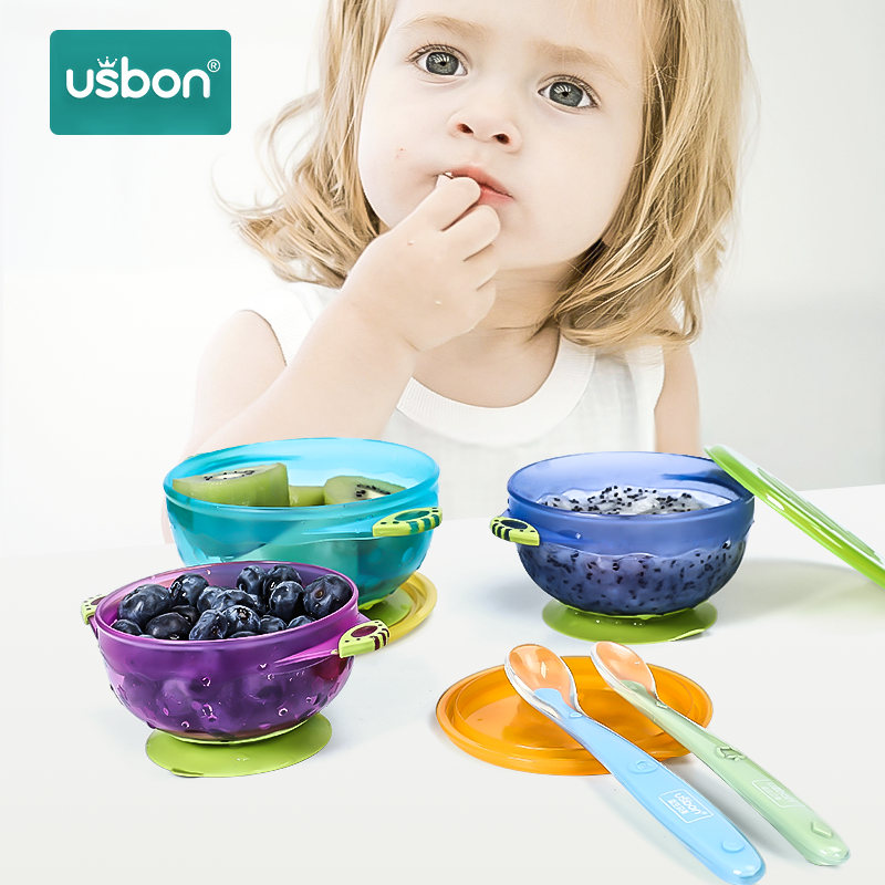 Usbon 3PCS Baby Feeding Learning Dishes Bowl Slip-resistant Wall Suction Child Tableware Assist Toddler Kids  Eating Training