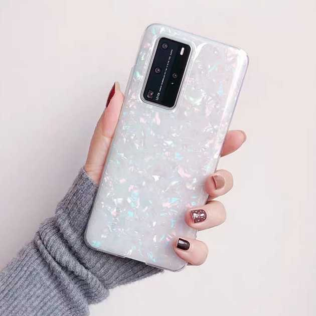 Bling Shell Marble ClearสำหรับHuawei P20 P30 P40 Mate 20 Nova 3 3i 7SE Honor 8A 8X 9 9X 10 10i 20 30 30S Lite Pro