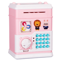 New Electronic Password Piggy Bank Cash Coin Can Mini Singing Story ATM Saver Machine with 16 Keys for Children Gift - Pink