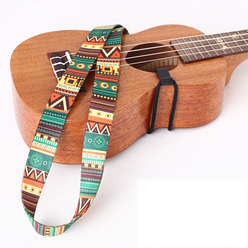 Guitar Strap Ethnic Pattern Hawaii Style Ukulele Strap Adjustable Nylon Clip With Hook Belt Sling Ukulele Guitar Accessories