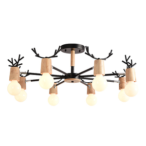 Image 5 - BOTIMI خشبية LED الثريا لغرفة المعيشة الأبيض بريق غرفة نوم مصابيح الأسود Lustres خشبية مصابيح تعليق للزينة الإضاءة الطعام