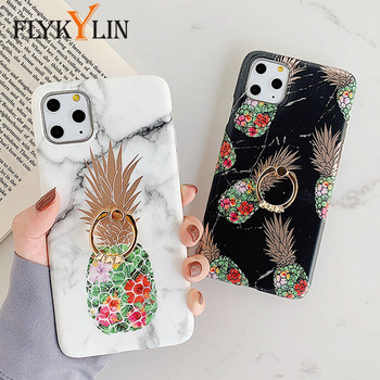 FLYKYLIN Ring Stand Pineapple Marble Case For iphone 11 Pro Max 6 6S 7 8 Plus XR X XS Back Cover Soft IMD Silicone Phone Coque