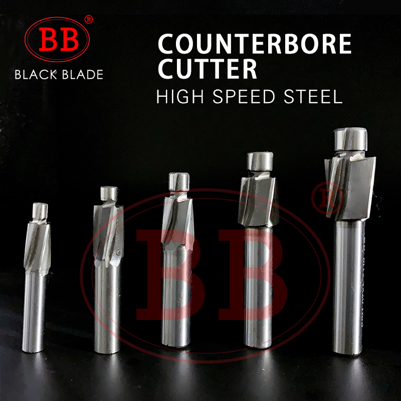 BB Piloted Counterbore Cutter HSS Flat Bolt Hole Cap Screw Countersink Milling Tool 4 Flutes Pilot M3 M20 Spot Router Slot Drill