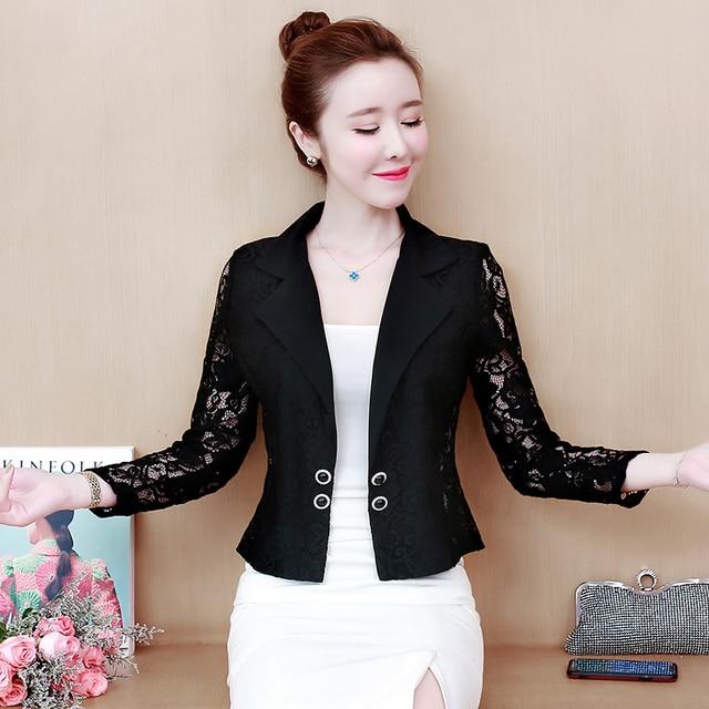Jacket Women 2021 Long Sleeve V-neck Office Women Jacket 3XL 4XL  Jacket Black White Hollow Lace Jacket Coat Women D105 3