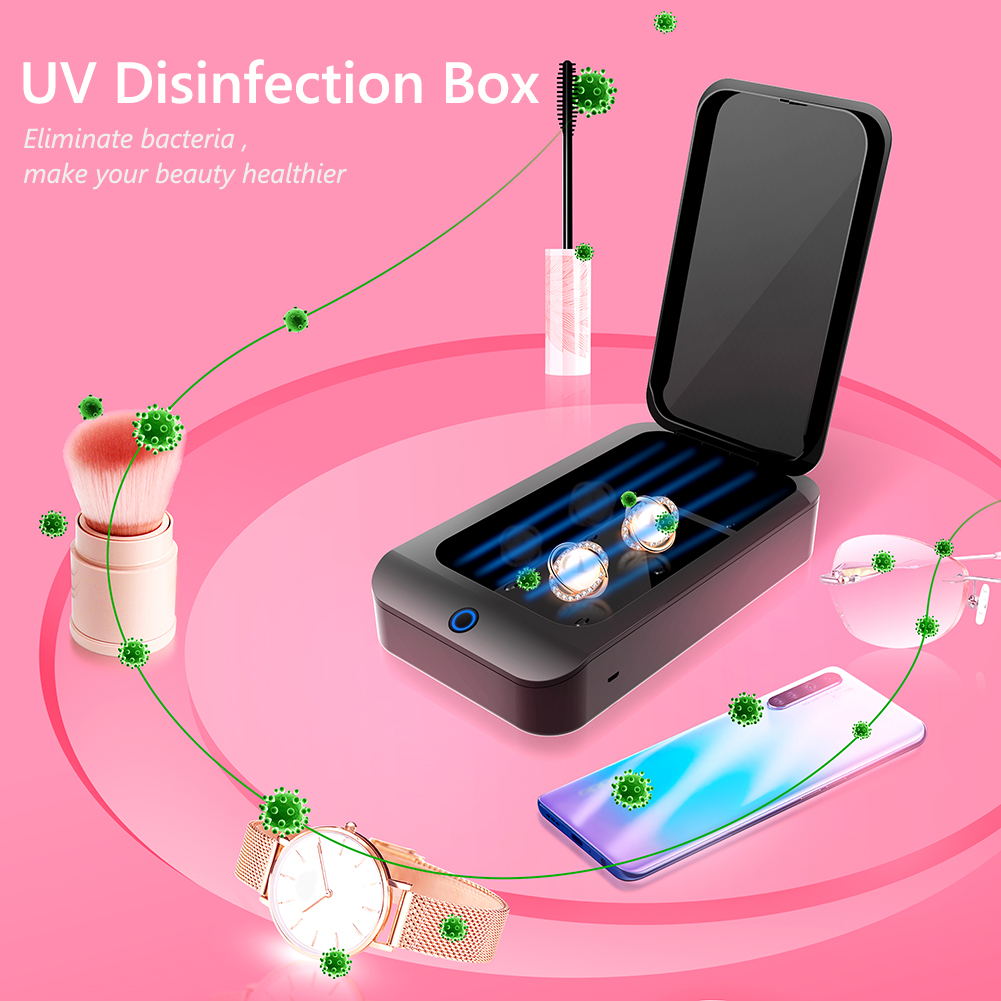 X2 UV Phone Sanitizer Mask Box Jewelry Phone Toothbrush Watch Cleaner Personal Sterilizer Disinfector Onebutton UV Sterilization