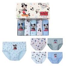 5 pçs/caixa dos desenhos animados disney mickey mouse cuecas algodão respirável confortável crianças meninos roupa interior 1-14 anos
