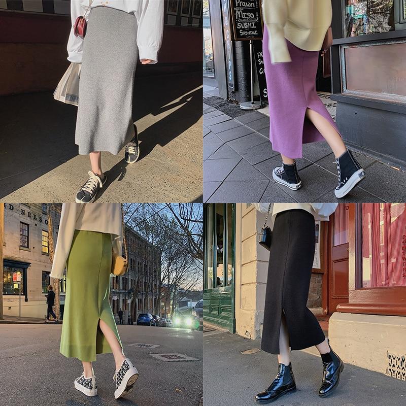 Women Long Pencil Skirt Winter Spring High Waist Knitted Cotton Wrap Skirt Women Fashion Skirt Bodycon 2019 Black Green Purple