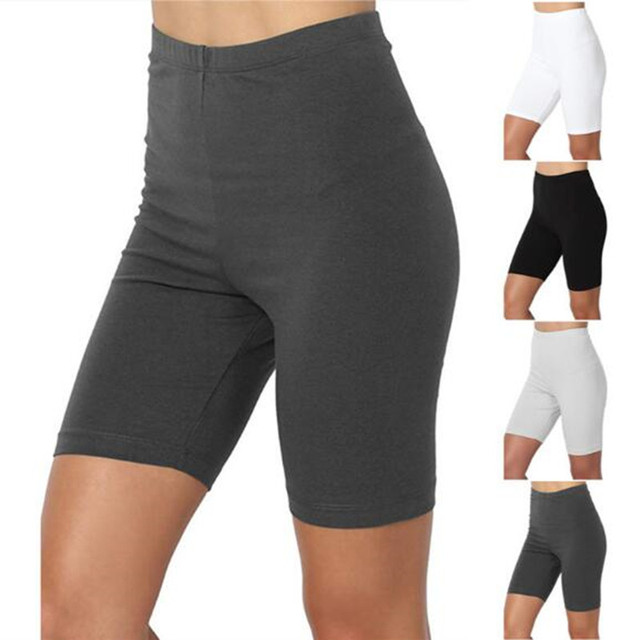 Ladies Outdoor Exercise Plain Active Summer Cycling Shorts Stretch Basic Short Hot Solid Black Soft Wear Shorts For Women Female 1