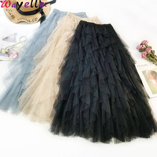 Korean Tulle Long Skirt  Women Pink Female 2019 Autumn Elastic High Waist Ruffles Elegant Mesh Tutu Skirts
