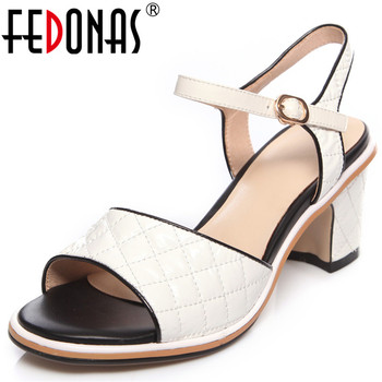 FEDONAS  2020 New Arrival Women Sandals Cow Patent Leather Lace Up High Heeled Office Pumps Spring Summer Elegant Shoes Woman