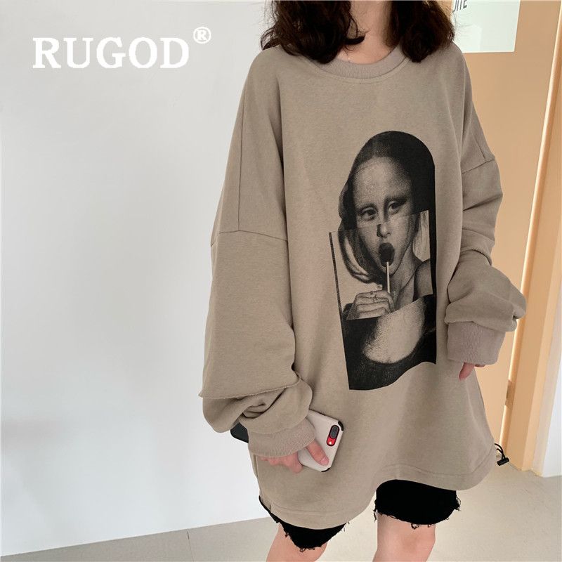 RUGOD 2019 New Autumn Women Sweetshirt Fake Two-pieces Pullover Character Print Loose Oversize Plus Size Tee Streetwear Mujer