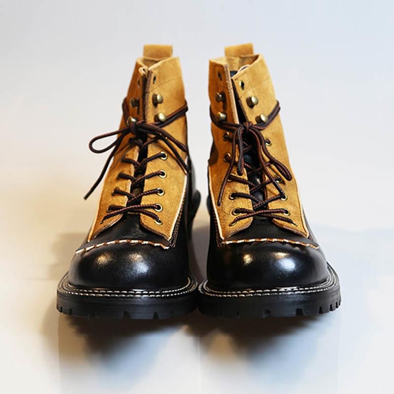 Handmade Quality Ankle Boots Men 100% Real Leather Lace Up Work Shoes Italian Patchwork Designer Platform Vintage Botas