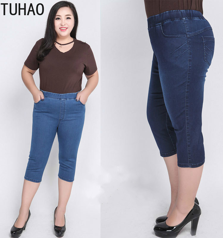 TUHAO 2020 Summer Plus Size 9XL 8XL 7XL <font><b>6XL</b></font> <font><b>Women's</b></font> Jeans Stretch Cropped Jeans High Waisted Mom Jeans Woman Large Size WM25 image