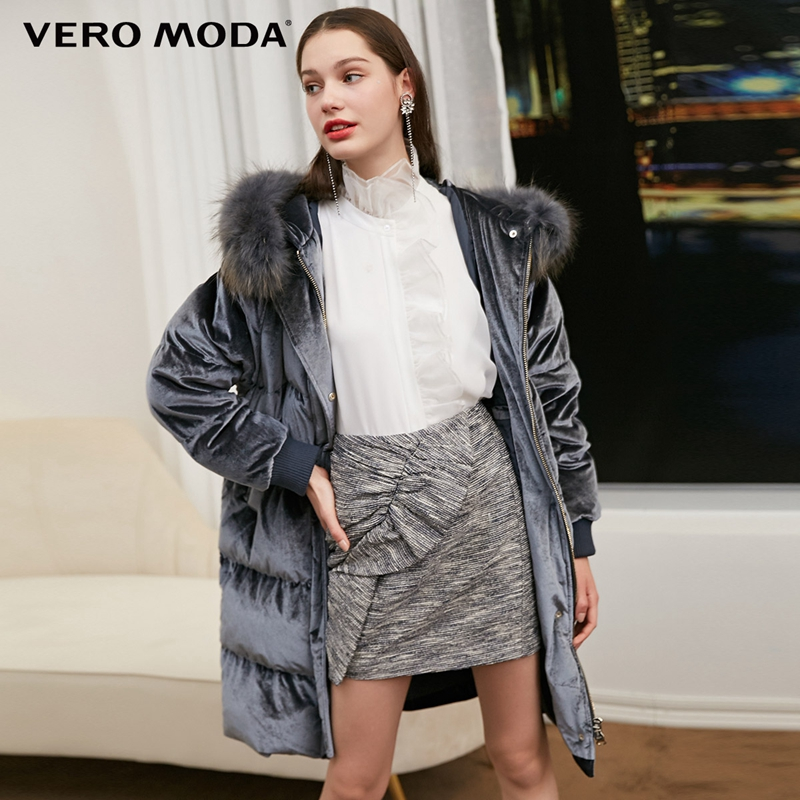Vero Moda Women's New 80% White Duck   Down   Raccoon Fur Collar Detachable   Down   Jacket Parka   Coat   | 318412502
