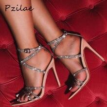 Pzilae/ г., Новая Летняя женская обувь пикантные женские босоножки на тонком высоком каблуке Модные пикантные женские свадебные Босоножки с открытым носком, украшенные блестящими кристаллами
