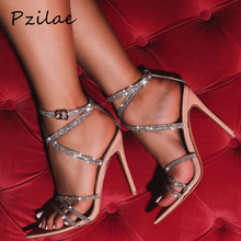 Pzilae 2020 new summer women shoes sexy ladies thin high heels sandals open toe Trendy bling crystal sexy women wedding sandals