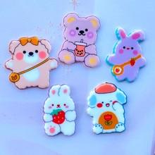 10/20 New Shiny Cartoon Cute Bear, Rabbit, Animal, Acrylic Flat DIY Crafts, Mobile Phone Shell Ornament Accessories 022