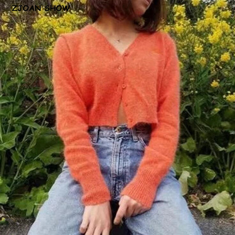2020 Spring Stylish Knitting Single Breasted Cardigan Vintage Sweater Woman V-neck Long Sleeve Jumper Kleding Jerseis 4 Colors