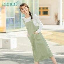 INMAN 2020 봄 새 도착 포켓 장식 여성 드레스
