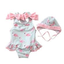 Moda mais recente bebê recém-nascido menina trajes de banho chapéus 2 pçs bonito flamingo impressão maiô terno de natação crianças crianças biquinis de uma peça