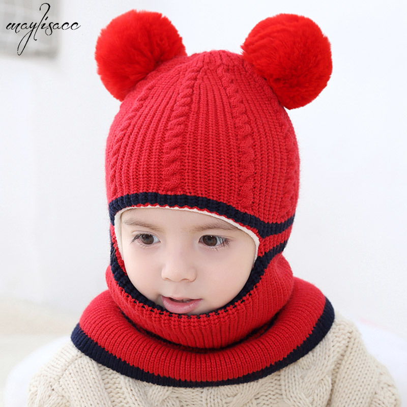 Maylisacc Hat And Scarf For 2-5 Years Old Girls Boys Autumn Winter Warm Hats Snood Set Children's Wind-proof Knitted Hat Set