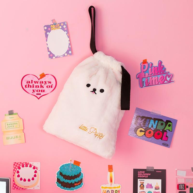 Milkjoy Drawstring Bags For Women Candy Cosmetic Case Travel Plush Storage Bag Lovely Girls Large Capacity Daily Handbags