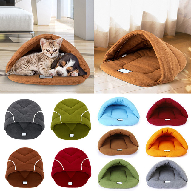 Puppy Pet Cat Dog Nest Cave House Kennel Bed Soft Warm  Sleeping Bag Mat Pad Tent Pets Winter Warm Cozy Beds