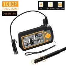 WDLUCKY kamera endoskopowa 4.3 cal przemysłowy ręczny boroskop 3.9 5.5 MM HD 1080P podwójny obiektyw inspekcja wąż samochód narzędzie kamera