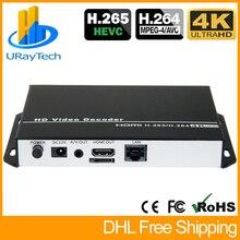 H.265 H.264 UHD 4K Video Audio Streaming IP Decoder HDMI + CVBS AV RCA Output for Decoding IP Camera RTSP HTTP RTMP HLS M3U8