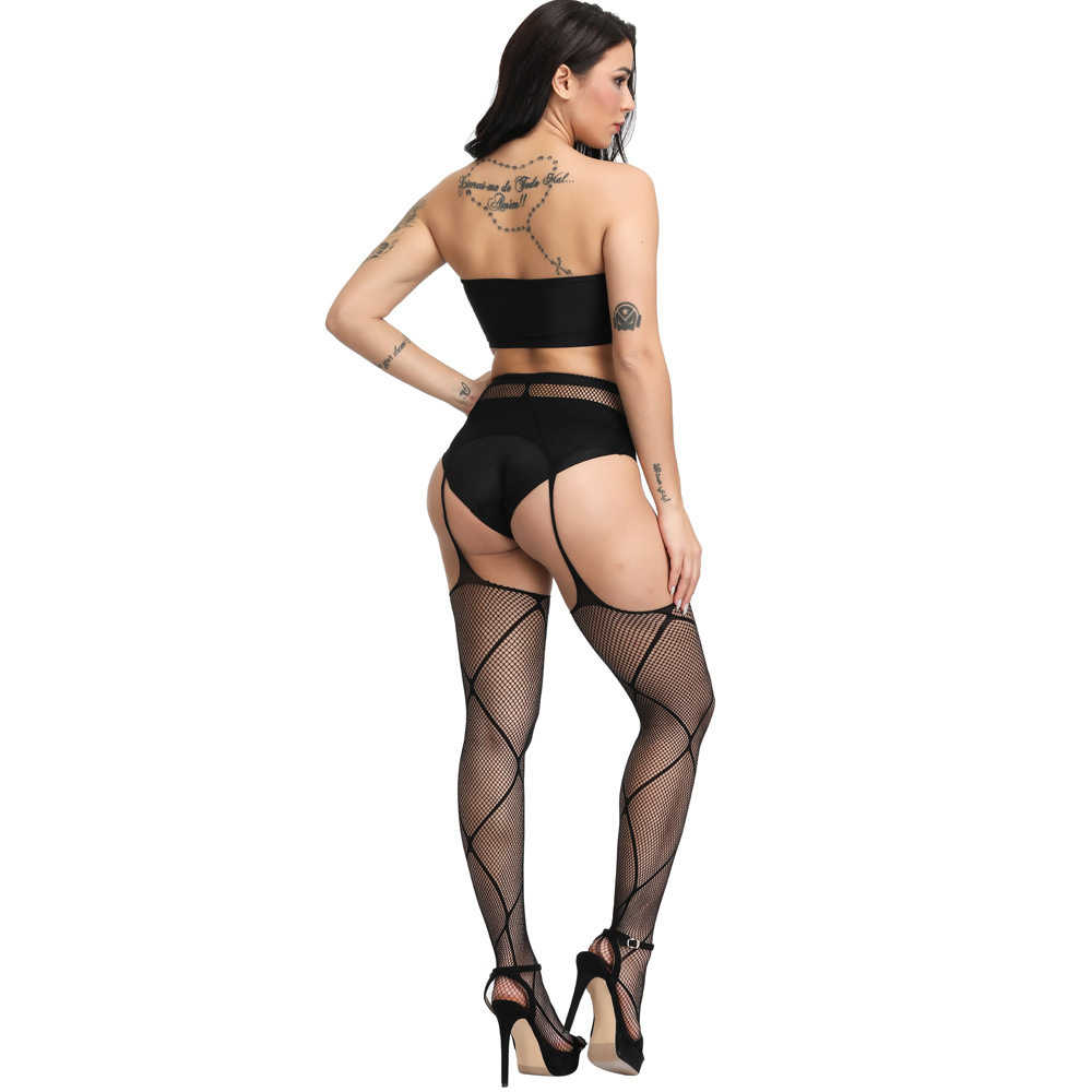 SSWILD LADY Sexy Vrouwen Cortchless Jarretel Panty Visnet Zwarte Strakke Kousen XL Erotische Open Kruis Sex Kous 31811
