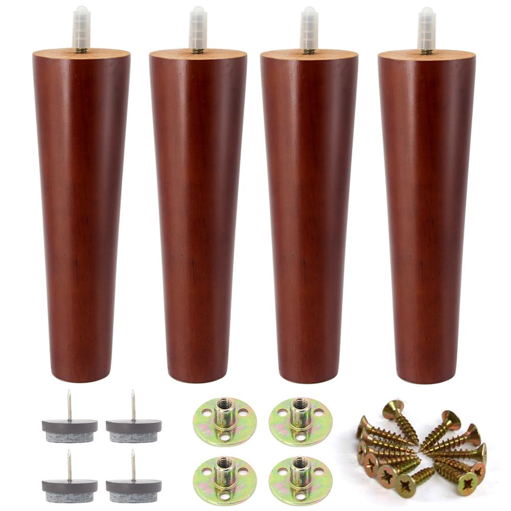 4Pcs 8 Inch Wood Furniture Legs Replacement Sofa Legs For Couch Feet Chest Of Drawers Cabinet DIY Furniture 5/16 Inch Bolt