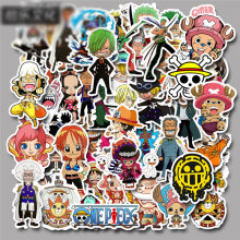 50pcs/set Cool ONE PIECE Anime Cartoon Stickers Graffiti Guitar Luggage Scooter Suitcase Bike Decals Boys Christmas Presents(China)