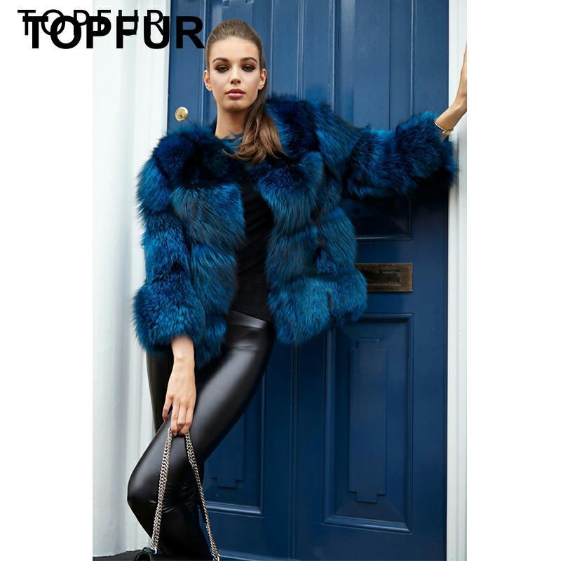 TOPFUR 2019 nouvelle mode de luxe hiver naturel argent renard coloré fourrure de renard veste femmes veste courte épais chaud fourrure manteau Outwear