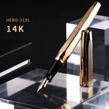Hero pluma estilográfica de 14K, pluma estilográfica con grabado dorado, plumín medio de dos cabezales, pluma de regalo y caja para oficina y negocios, 2191