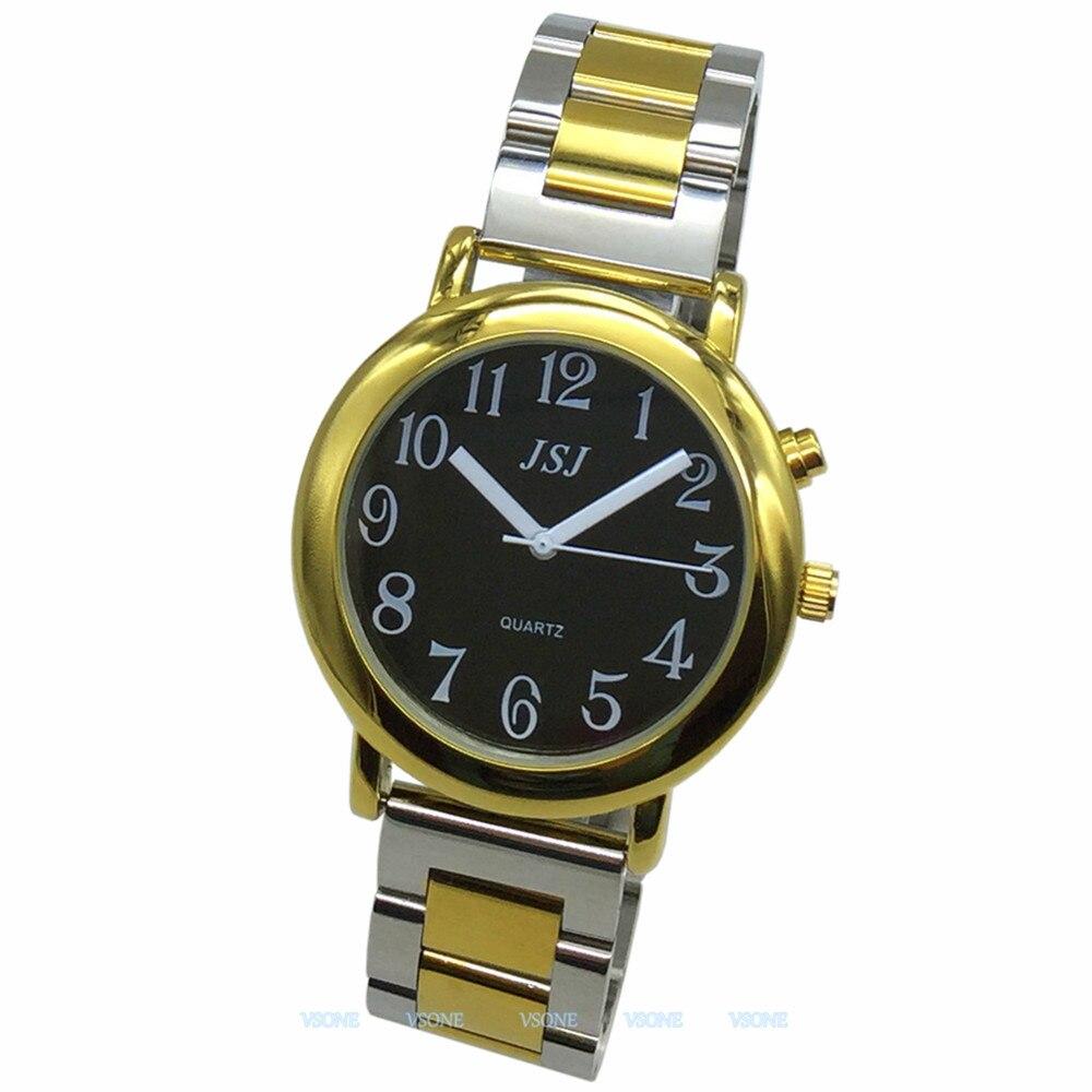 Английские говорящие часы с функцией будильника, говорящая Дата и время, черный циферблат, складная застежка, золотой чехол, бирка-605