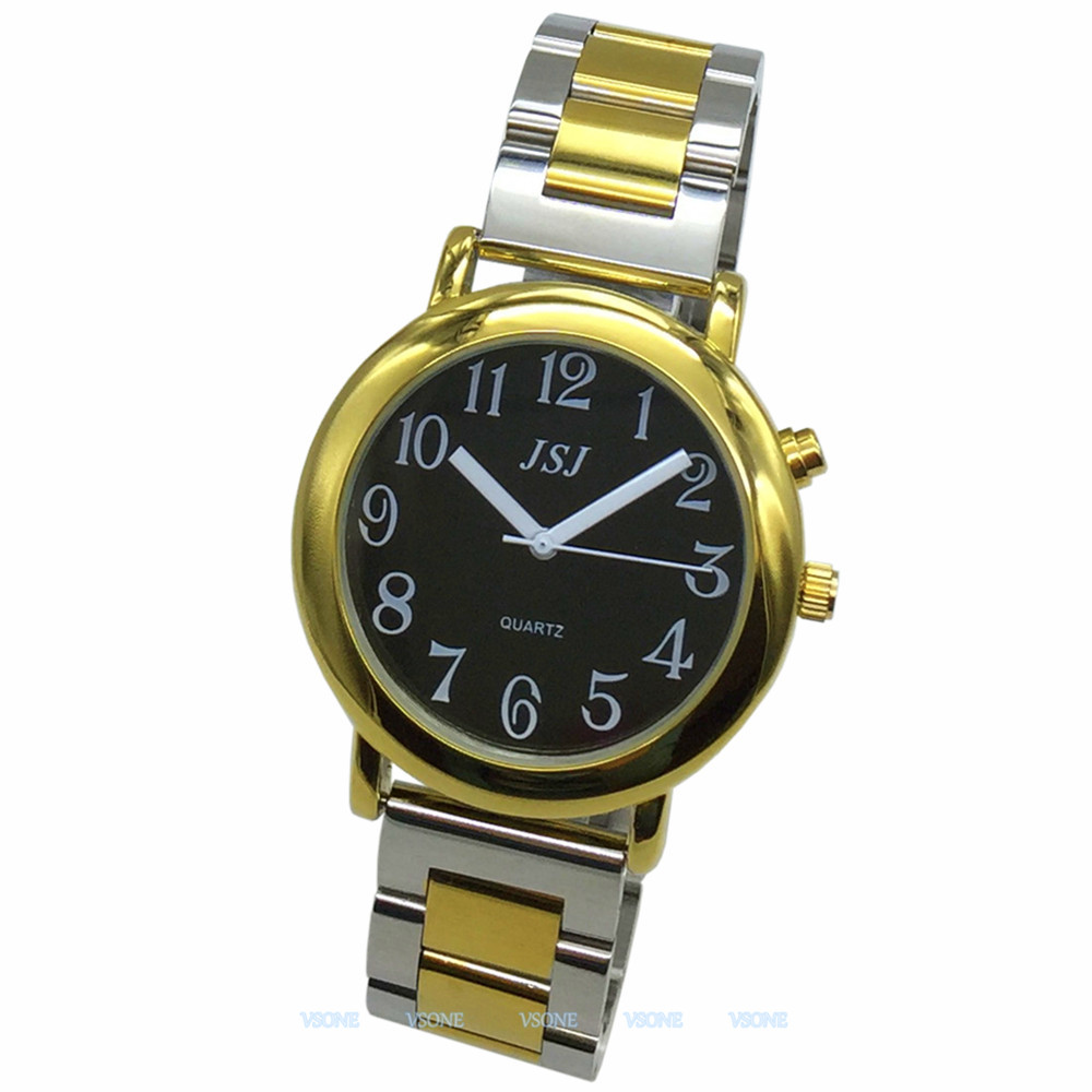 English Talking Watch With Alarm Function, Talking Date And Time, Black Dial, Folding Clasp, Golden Case TAG-605