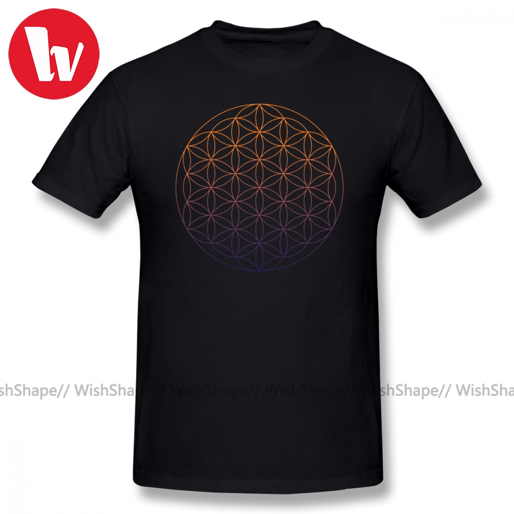 Sacred Geometry T Shirt Flower Of Life T-Shirt Men Print Beach Tee Shirts Male Short Sleeve Funny Awesome T Shirts Plus Size
