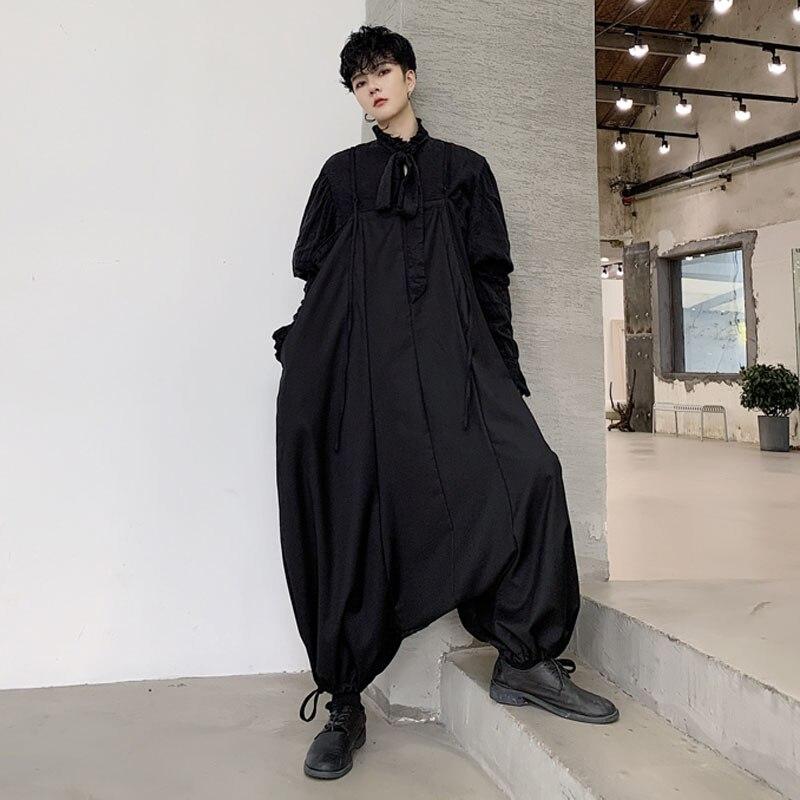 Men Loose Casua Bib Cross Pants Overalls Male Japan Retro Fashion Streetstyle Loose Harem Pant Jumpsuit