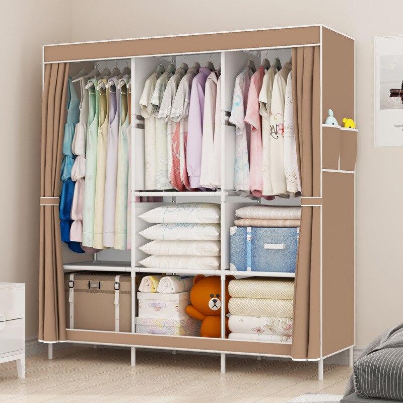 Simple Wardrobe Dustproof Storage Wardrobe Cloth Wardrobe Steel Frame Combination Storage Cabinets Minimalist Modern Large Size
