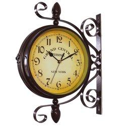 Antyczny ścienny zegar montażowy ogród korytarz stacja wewnętrzna dwustronny uchwyt zegar 66CY
